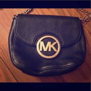 Michael Kors small black purse with gold